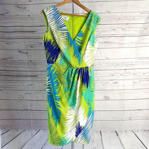 Maggy L green blue sleeveless palm leaf wrap dress